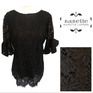 Nanette Lepore Lace Ruffled Sleeve Top XS
